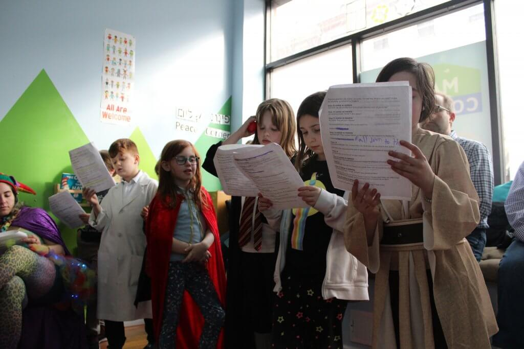 The 2nd-4th graders performing the Purim Shpiel.