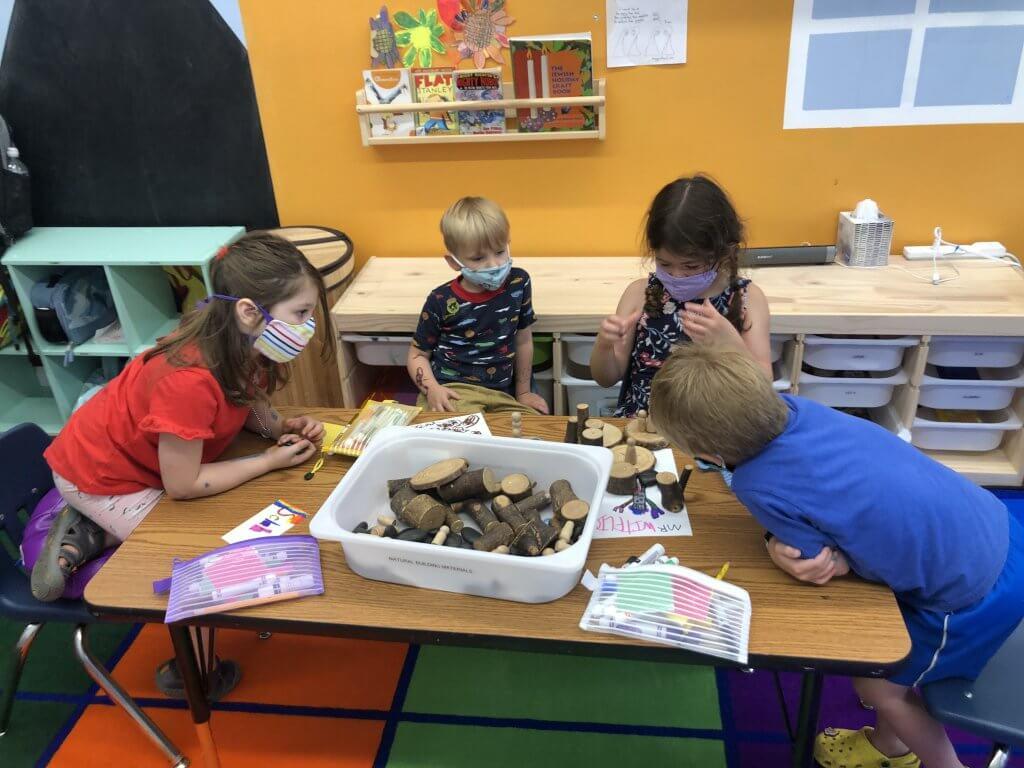 PreK and K kids building the Torah story.