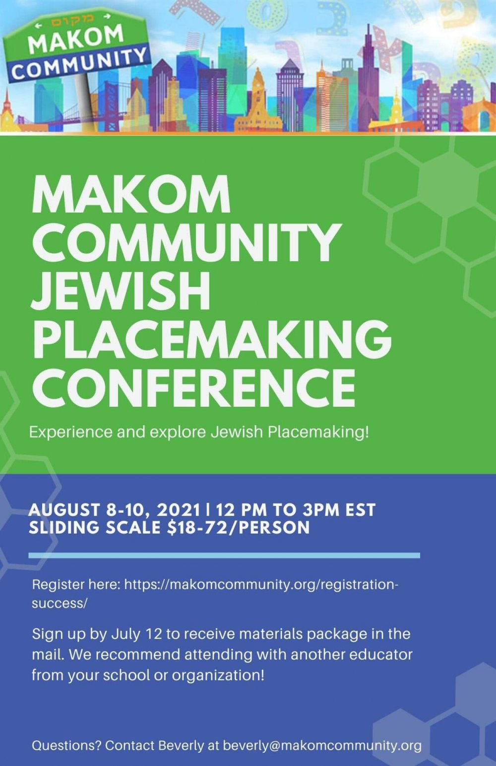 Makom Community Jewish Placemaking Conference Schedule Overview